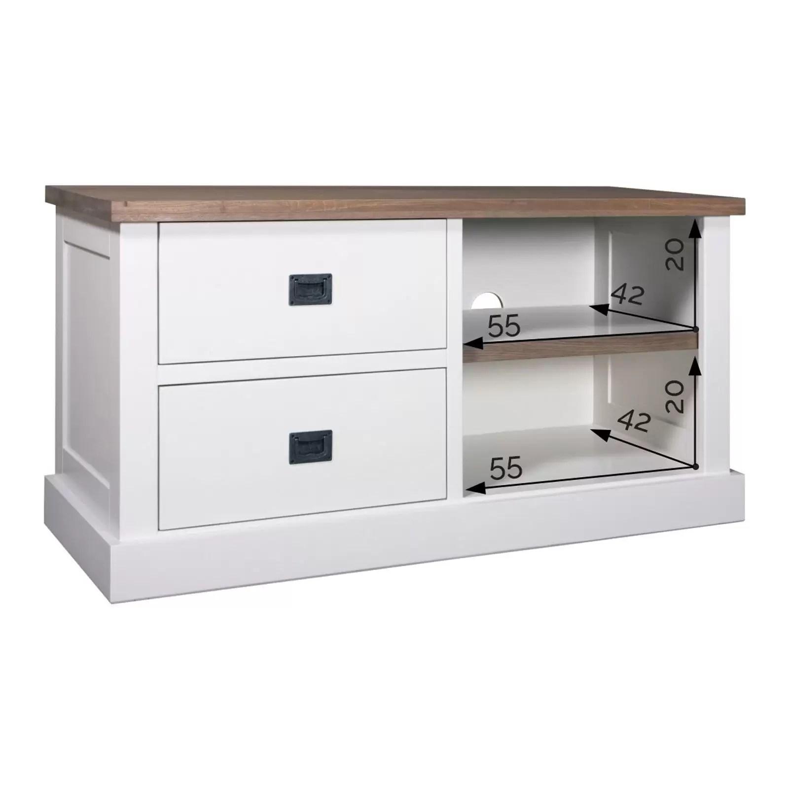 meuble tv 2 tiroirs chene et pin chic