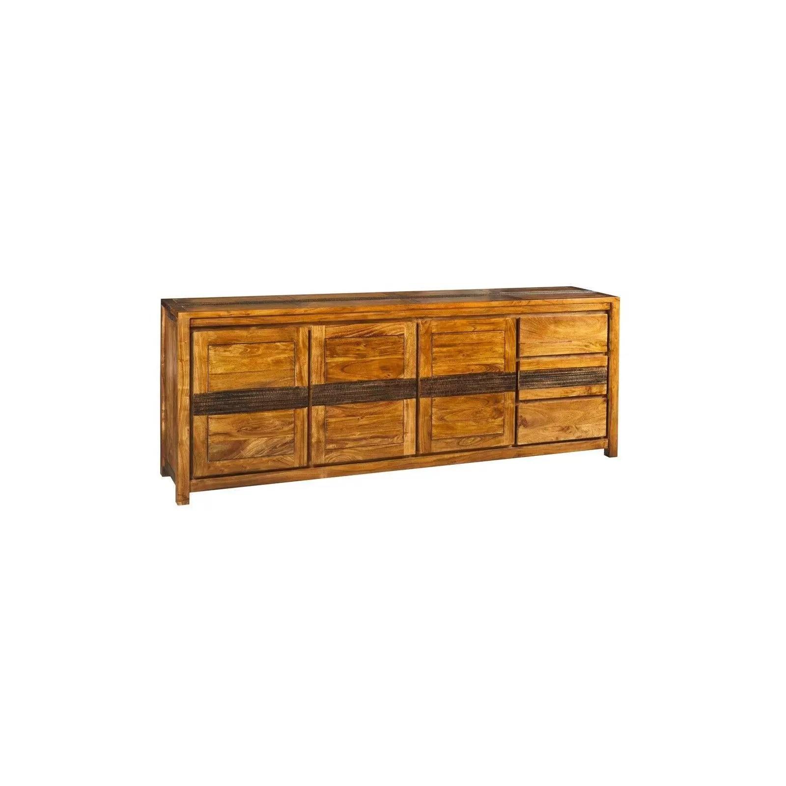 buffet bahut tatoo haut de gamme en bois d acacia massif 3 portes et 3 tiroirs