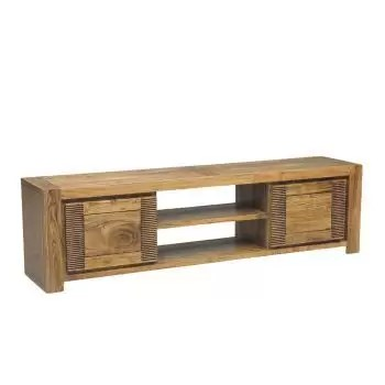meuble tv bois strie 2p 2n acacia verone