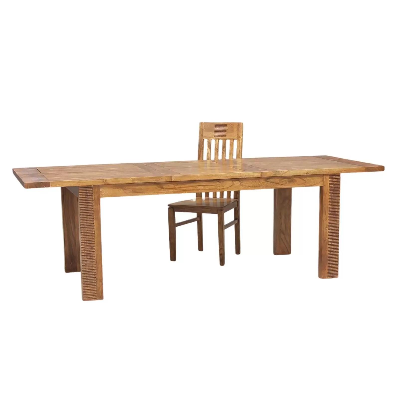 table a manger rectangulaire rallonge bois strie 180 acacia verone