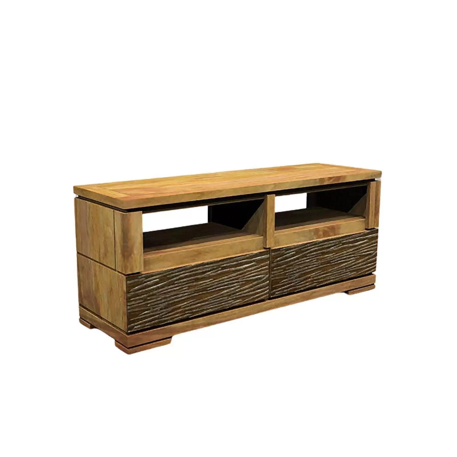 meuble tv maya ethnique chic en bois d acacia massif 2 tiroirs et 2 niches