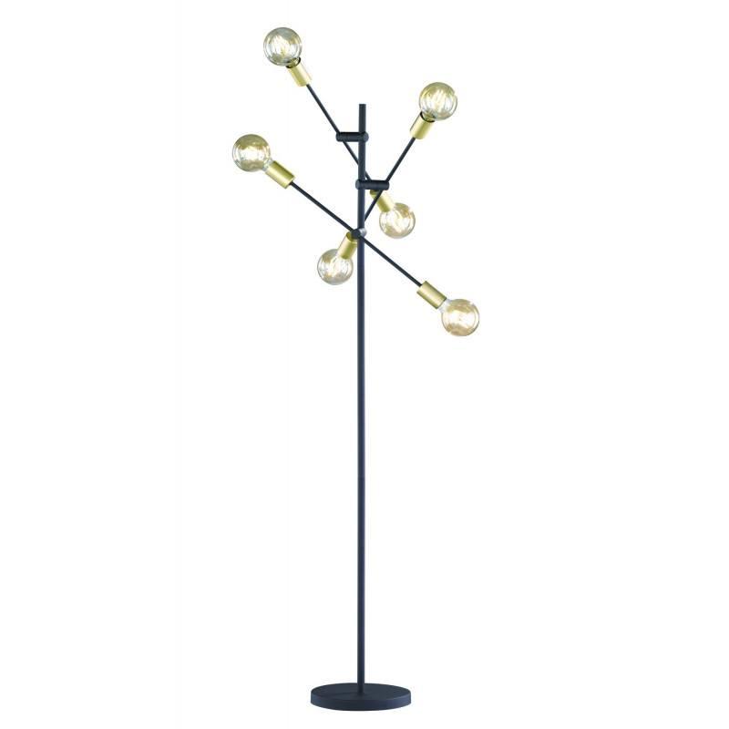 lampadaire cross noir mat et or avec six ampoules
