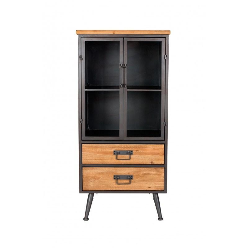 petite vitrine industrielle bois et metal damian boite a design