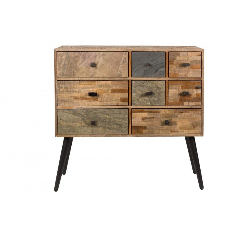 meuble de rangement a tiroir en teck recycle san boite a design