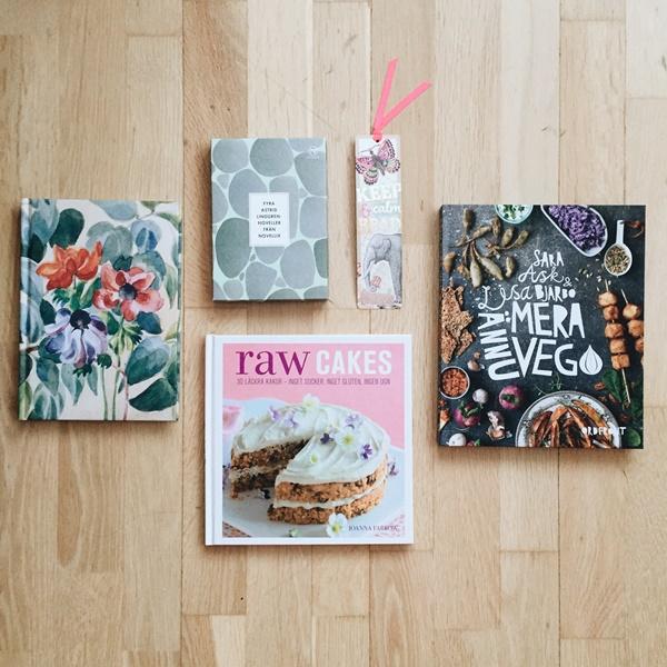 Anteckningsbok Josef Frank, Astrid Lindgren-noveller, bokmärke, Raw cakes, Ännu mera vego