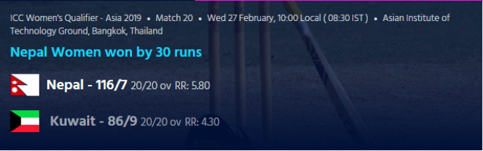 ICC Women's Qualifier Asia 2019 - Nepal Vs Kuwait