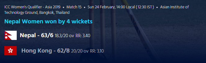 ICC Women's Qualifier - Asia 2019: Nepal Vs Hong Kong