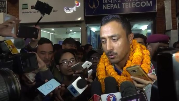 Nepal Cricket Captain Paras Khadka with Media