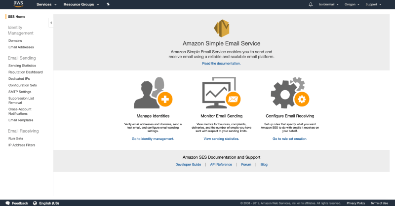 The Amazon Simple Email Services dashboard | Boldermail