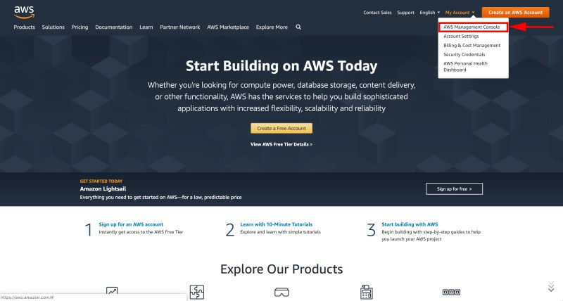 Login to the Amazon Web Services Console | Boldermail