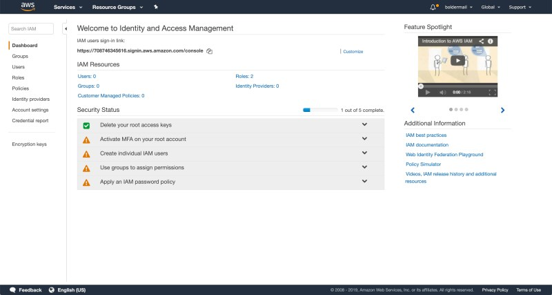 The Identity and Access Management console | Boldermail