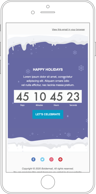 "The ""Happy Holidays"" template designed with our newsletter editor displayed on a mobile device."