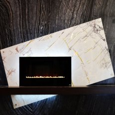 Xilo and Ancient Woodgrain Bolder Panel installed on a fireplace