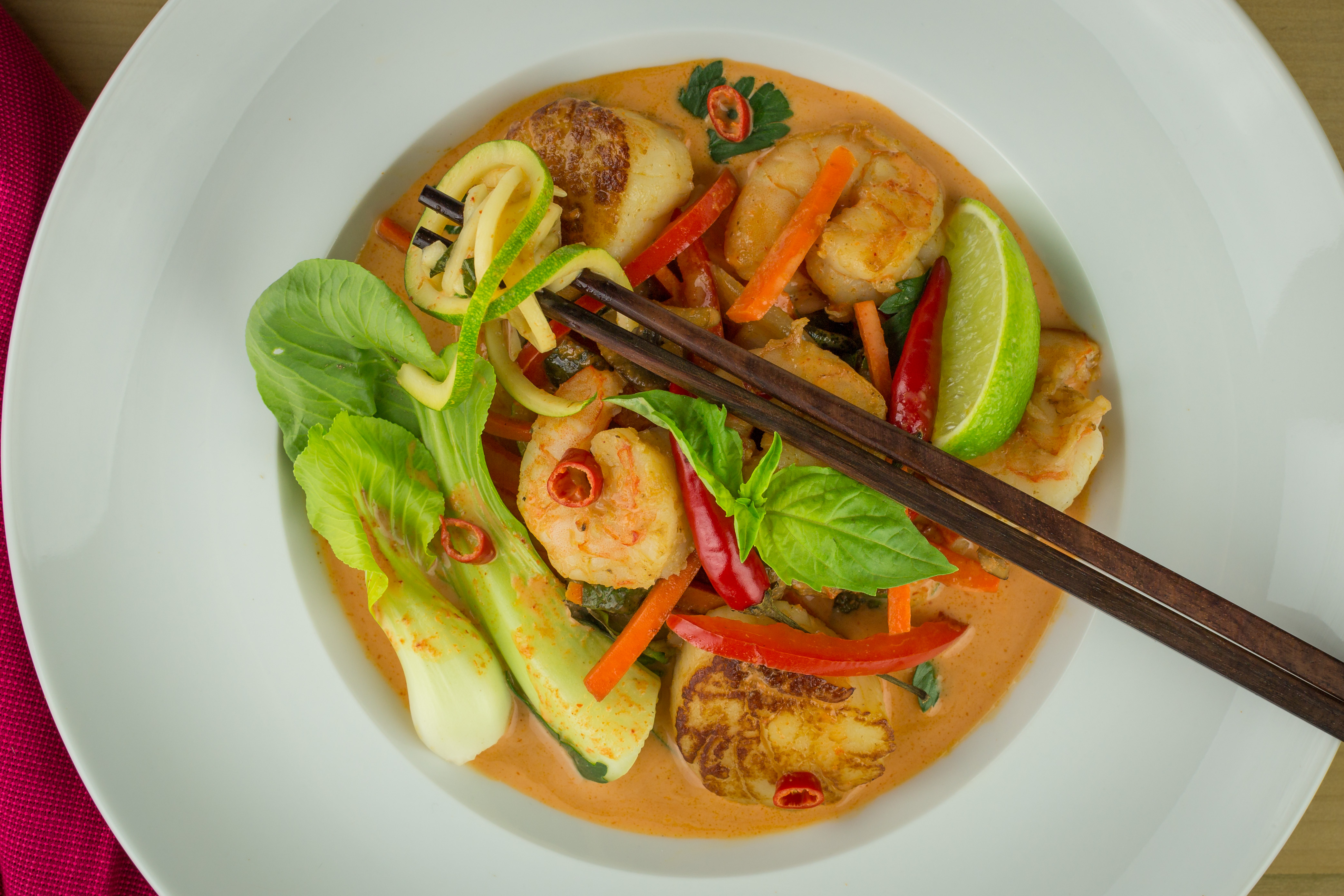 Shrimp Scallop Red Curry