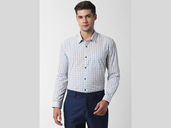 Blue pant combination with with white checked shirt