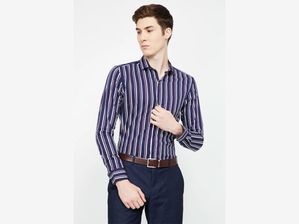 Blue pant combination with striped shirt