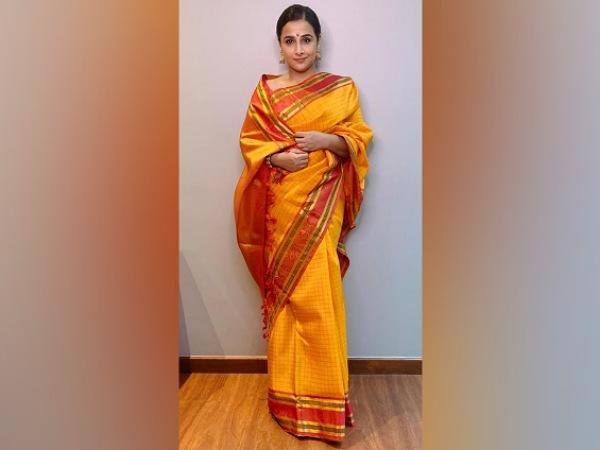 Vidya Balan In A Yellow Saree For Ganpati Celebration