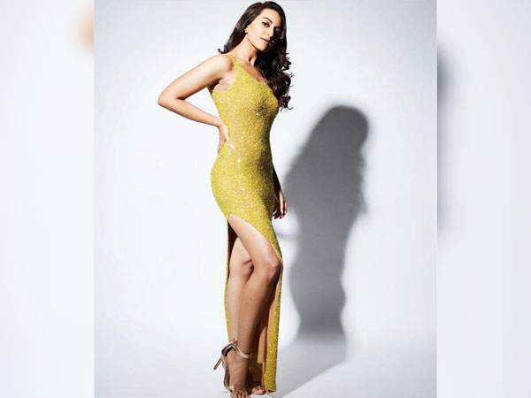 Sonakshi Sinha In A Yellow Sequin Gown