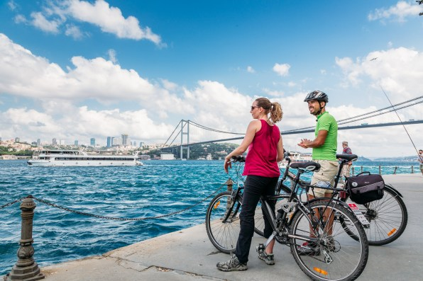 Biking from Europe to Asia over the Bosphorus Bridge in Istanbul