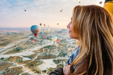 Enjoying the view from our hot air balloon ride over Cappadocia