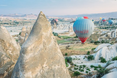 The final minutes of our hot air balloon flight over Cappadocia with Voyager Balloons