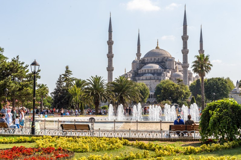 The stunning Blue Mosque (Sultan Ahmet Camisi) from across the courtyard Istanbul Turkey