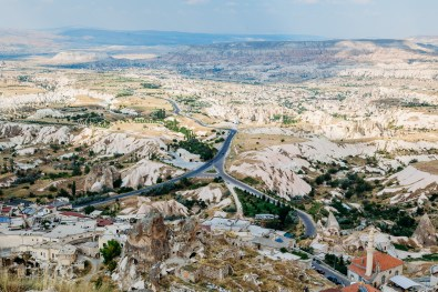 Enjoying the view from the top of Uchisar Castle in Cappadocia