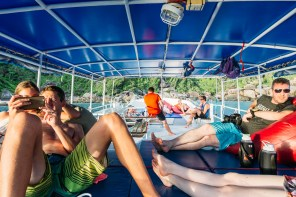 The upper deck of the Wicked Diving boat MV Mariner on the Similan Islands