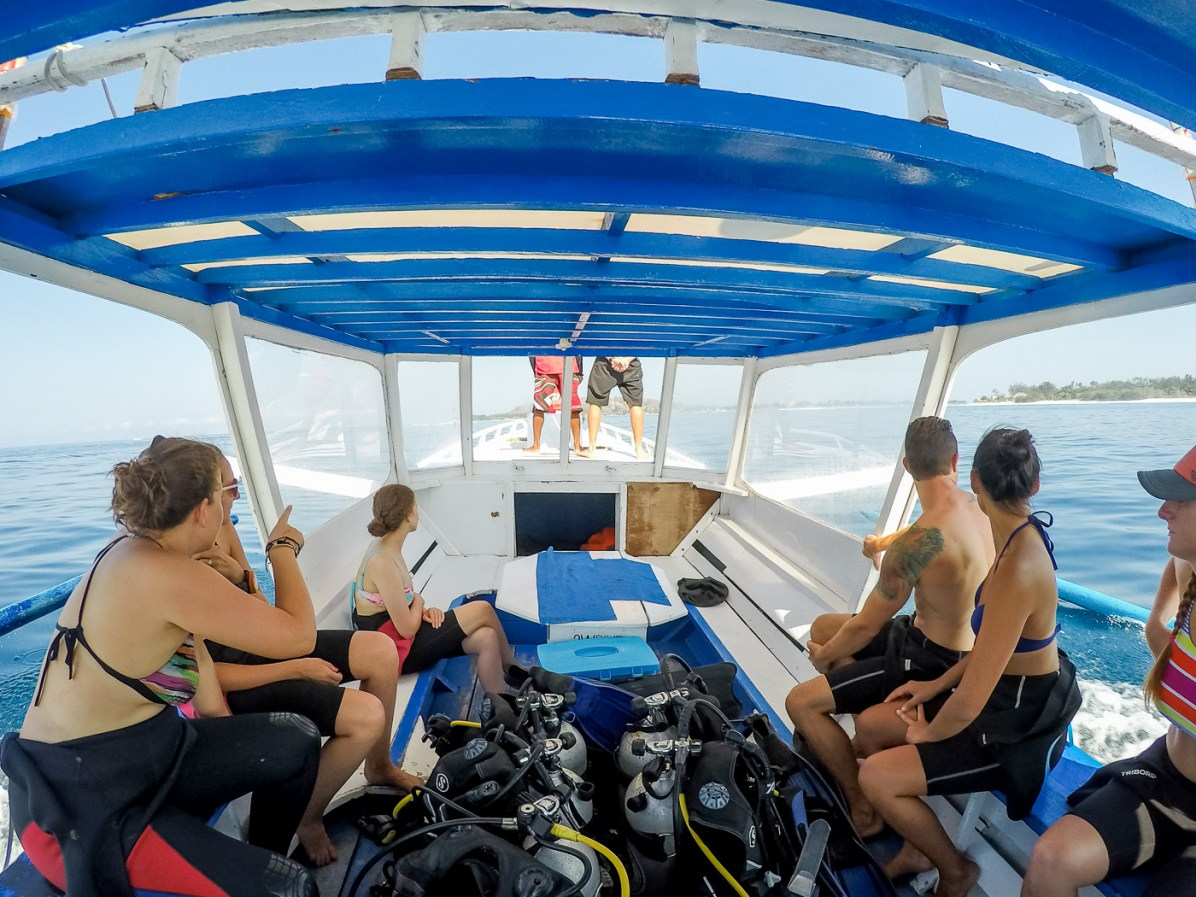 Taking the boat out to our dive sites around the Gili Islands