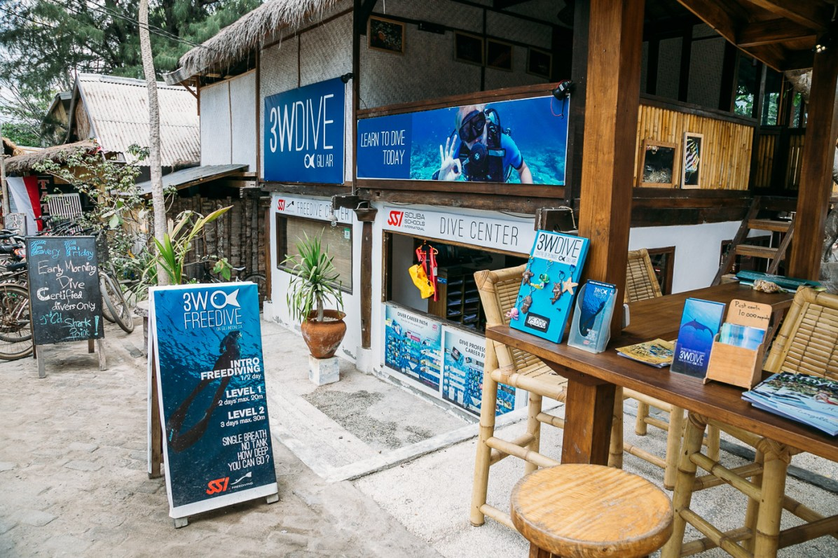 Exploring the dive shops on Gili Air
