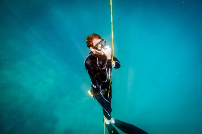 Equalizing while going down on a dive free diving Philippines