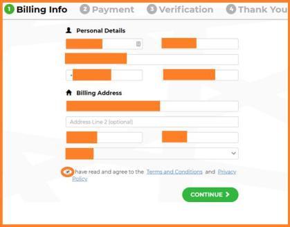 Paso5 rellenar datos facturación en Binance Simplex