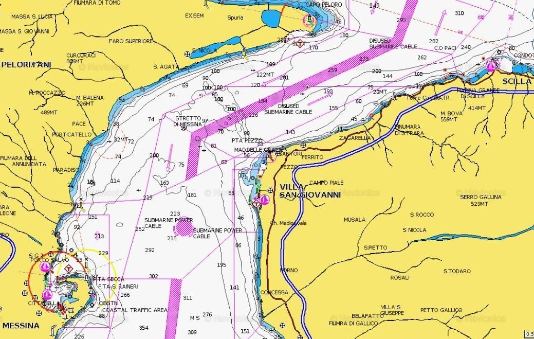 Navionics map of the strait of messina