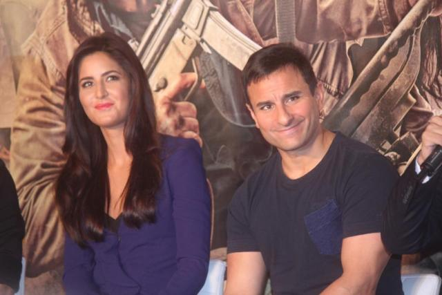 Mumbai: Actors Katrina Kaif and Saif Ali Khan during the trailer launch of film Phantom in Mumbai, on July 25, 2015. (Photo: IANS)