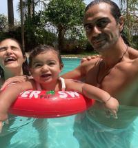 Arjun Rampal, Gabriella Demetriades and Arik Rampal