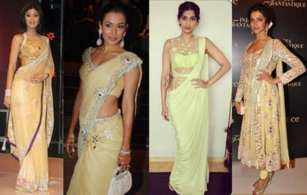 Image result for actress in custard color sarees