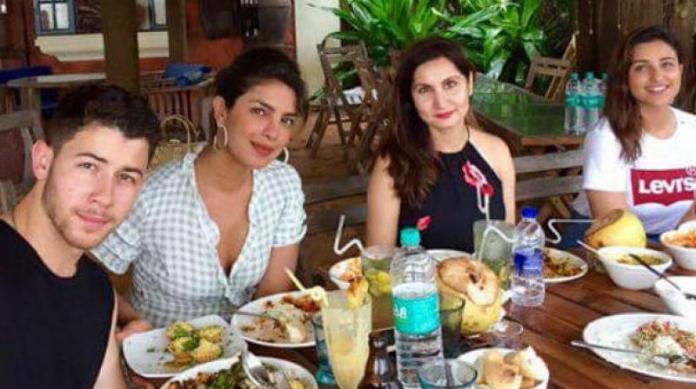 Parineeti chopra twinned with priyanka on her engagement  Priyanka Chopra's Wedding Lehenga To Be Designed By Abu Jani-Sandeep Khosla, Took 6 Hrs To Finalise? article 2018822916422660146000