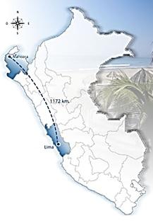 distâncias entre duas praias no Peru