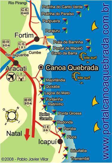 Mapa das praias de Canoa Quebrada