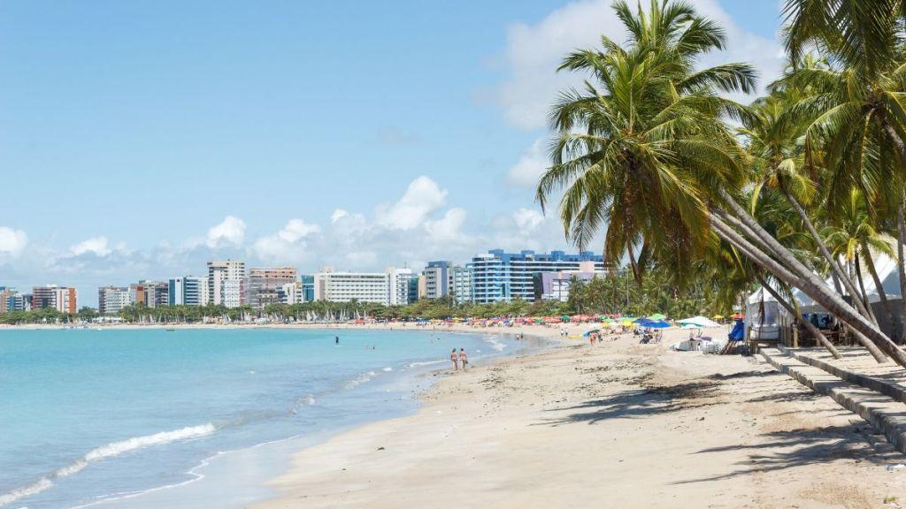 Vista de Ponta Verde em Maceió, Alagoas, Nordeste do Brasil.