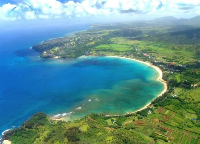 Hanalei Bay Beach, Kauai praias mais lindas do Havaí