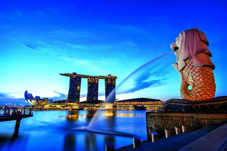 Merlion é um dos pontos turísticos de Singapura