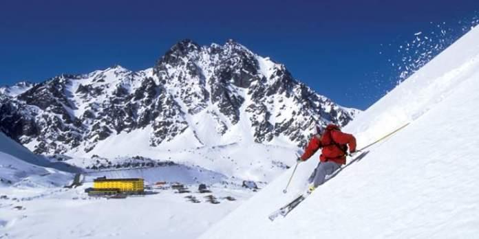 Portillo no Chile é um dos destinos de esqui na América do Sul