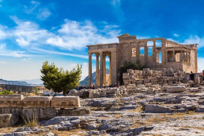 Templo na Acrópole de Atenas na Grécia