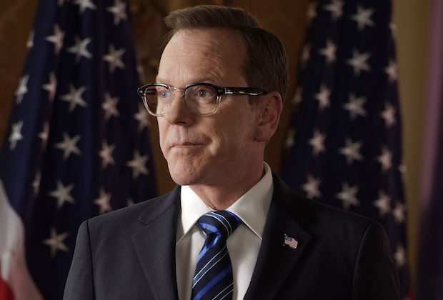 "DESIGNATED SURVIVOR - ""One Hundred Days"" - As President Kirkman releases an agenda to reset his presidency, Alex makes a controversial public statement that threatens to derail it. Meanwhile, FBI agent Hannah Wells unknowingly finds herself in the center of a dangerous trap while getting closer to the truth.  Mark Deklin guest stars as Senator Jack Bowman, on ABC's ""Designated Survivor,"" SUNDAY, APRIL 5 (10:00-11:00 p.m. EDT), on The ABC Television Network. (ABC/Ben Mark Holzberg) KIEFER SUTHERLAND"