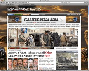 Prima pagina del Corriere.it di oggi
