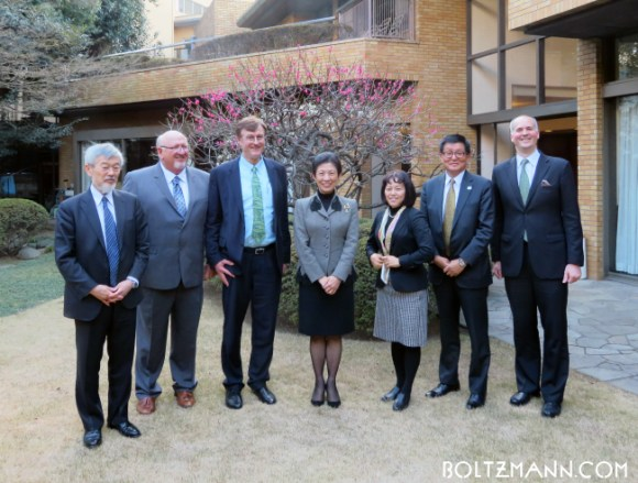 9th Ludwig Boltzmann Forum, Embassy of Austria in Tokyo, 16 March 2017 speakers (left to right): Masato Wakayama, Chuck Casto, Gerhard Fasol, Her Imperial Highness Princess Takamado, Yayoi Kamimura, Minoru Koshibe, Konstantin Saupe (Embassy of Austria)