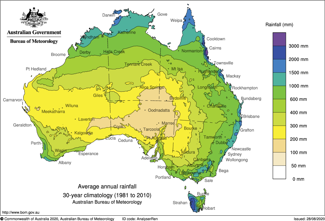 Annual average rainfall for Australia
