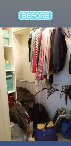Photo of closet before decluttering