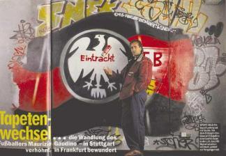 Eintracht Frankfurt Adler Log mit Maurizio Gaudino für Bild Zeitung © Jörg Ladwig 1993